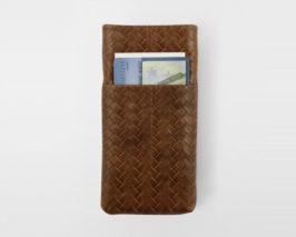 iPhone Card Case cognac geflochten Braid