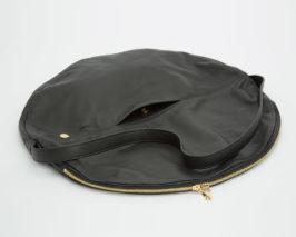 Lapaporter Shopper Ledertasche schwarz kreis form